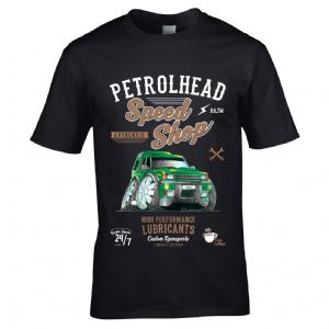 Premium Koolart Petrolhead Speed Shop Motif With Discovery 1/2 Car Image Mens T-shirt Top